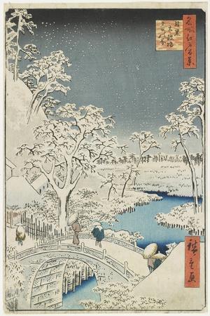 Drum Bridge and Sunset Hill at Meguro, April 1856