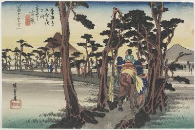 Fuji from the Left (The First Village of Fuji), Yoshiwara(2 Ri 30 Cho), C. 1833