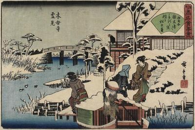 Snow Scene at Mokubo-Ji Temple and the Restaurant Uekiya, Uekiya, C. 1835-1842