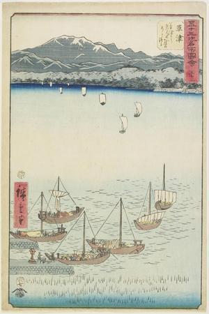 No. 53 Sailing Boats at Yabase Ferry Gate on Kusatsu Beach, Kusatsu, July 1855