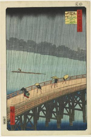 Distant View of Atake in Evening Shower over the Ohashi Bridge, September 1857