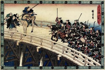 Act 11 Scene 5 of Night Attack; Being Arrested on the Ryogoku Bridge, C. 1838