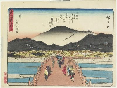 View of the Sanjo Bridge in Kyoto, 1837-1844