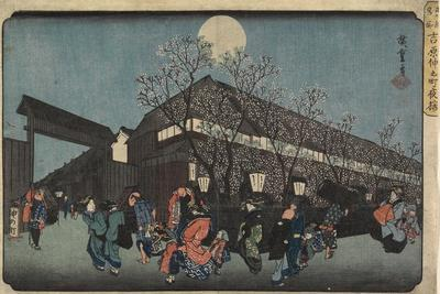 Night View of Nakanomachi with Cherry Blossoms in the Yoshiwara, 1832-1834