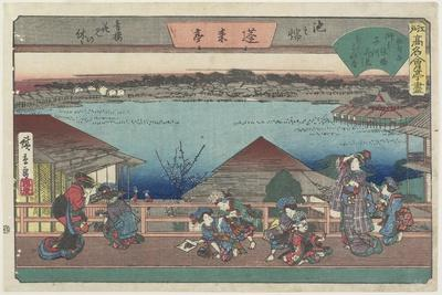 Courtesans Viewing Cherry Blossoms at Horaitei in Ikenohata, C. 1835-1842