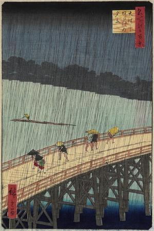 Distant View of Atake in Evening Shower over the Ohashi Bridge, July 1857