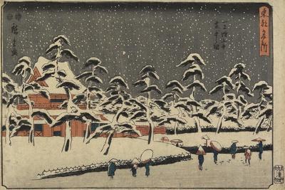 Snow View of Zojoji Temple at Shiba, 1847-1852