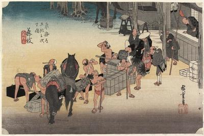 Changing Porters and Horses, Fujieda, C. 1833