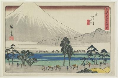 Kashiwahara Rest Area by the Pond with View of Mt. Fuji, Hara, 1841-1842