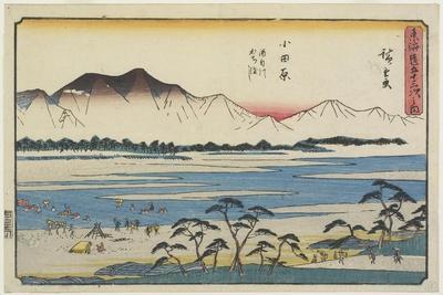 Crossing Sakawa River in Odawara, 1841-1842