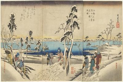Koto Meisho Sumida-Gawa Yuki-Mi No Zu San-Mai Tsuzuki, C. 1834