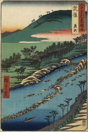 River with Fish Traps, Chikugo Province, September 1855