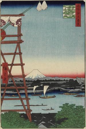 Motoyanagi Bridge and Ekoin Temple in Ryogoku, May 1857