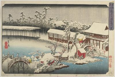 Snow at the Shrine Ground of Kameido Tenman, 1832-1834