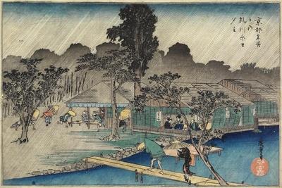 Twilight Shower at Tadasu Bank, C. 1834
