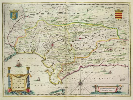 Map Of Spain To Print.Map Of Andalusia Spain 1634