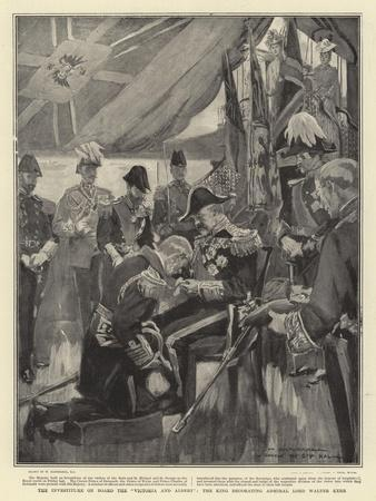 The Investiture on Board the Victoria and Albert, the King Decorating Admiral Lord Walter Kerr