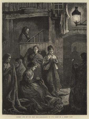 London Life at the East End, Sack-Making by the Light of a Street Lamp