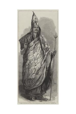 A Lama of the Dalai Sect, Thibet, with His Praying-Wheel and Trident