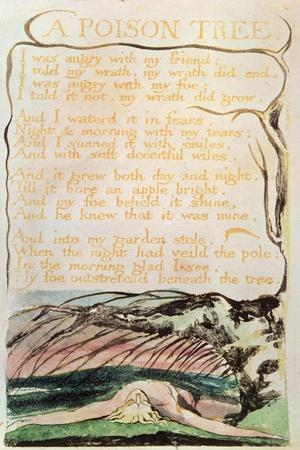 Songs of Experience; a Poison Tree, 1794 (Relief Etching, Watercolour, Pen)