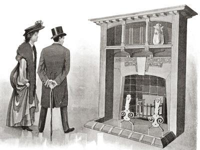 Advertisement for an Early 20th Century Fireplace. from the Mansions of England in the Olden Time