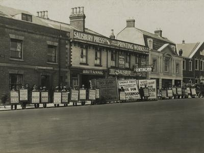 Campaign Boards Outside Salisbury Press and Printing Works During the General Election