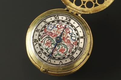 Cylindrical Brass Clock with Silver Dial Decorated with Polychrome Enamels