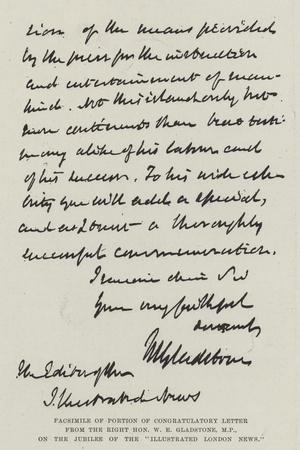 Facsimile of Portion of Congratulatory Letter from the Right Honourable W E Gladstone