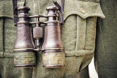 Historical Reenactment: Alpini Officer with Binoculars