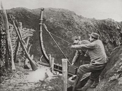 French Soldiers Using a Catapult for Flinging Bombs During World War One
