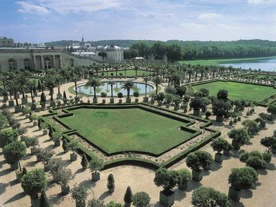 High Angle View of a Formal Garden in Front of a Palace