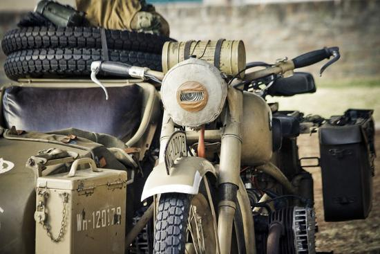 Historical Reenactment: Bmw R75 Motorcycle with Sidecar Used by Wehrmacht