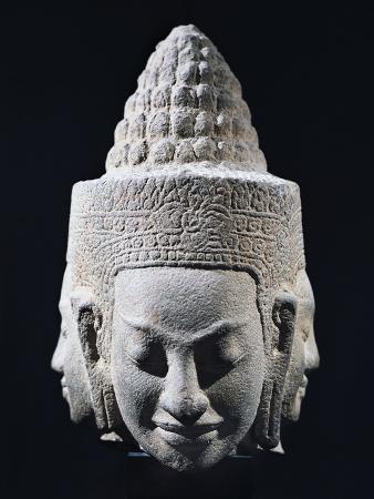 Head of Three-Headed Deity in Stoneware