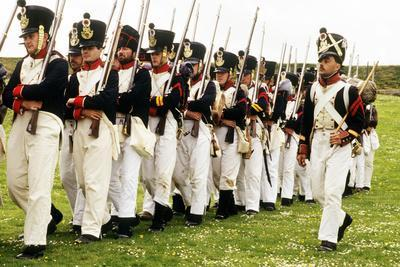 Historical Re-Enactment of a French Napoleonic Foot Regiment in Battle