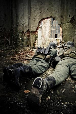 Historical Reenactment: Wehrmacht Soldiers with Mg34 Machine Guns (Maschinengewehr 34) in Factory i