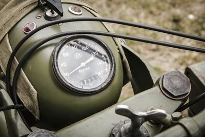 Historical Reenactment: Speedometer of M-72 Motorcycle with Side-Car Issued to Red Army