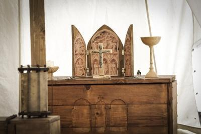 Historical Reenactment: Templar Knight's Tent with Altar for Eucharistic Celebrations