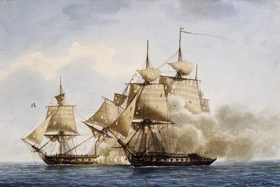 Naval Combat Between French Frigate Amazone and English One Santa Margherita During Campaign in Ame