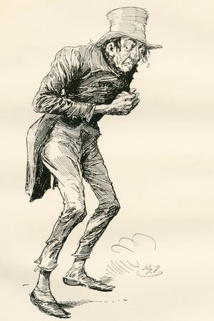 Newman Noggs. Illustration by Harry Furniss for the Charles Dickens Novel Nicholas Nickleby