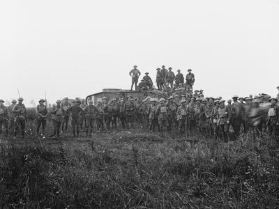 Outdoor Group Portrait of a Tank Crew and Some Members of the 5th Australian Infantry Brigade