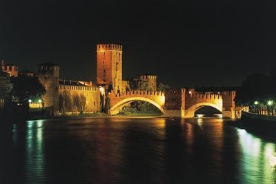 Night View of Scaliger or Castel Vecchio Bridge over Adige River