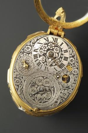 Oval Brass Pocket Watch with Silver Dial Inserted in Rock Crystal and Brass Outercasing