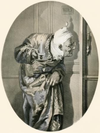 Old Man Spying Through Keyhole. from Illustrierte Sittengeschichte Vom Mittelalter Bis Zur Gegenwar