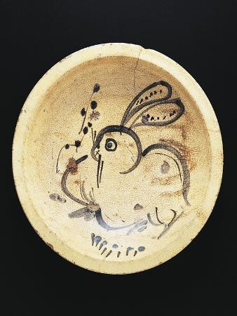 Rabbit Painted on Plate Used by Nishin-Zara Sellers (Stewed Herring)
