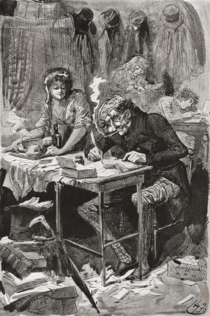 The Begging Letter Writer. Illustration by Harry Furniss for the Charles Dickens Novel Great Expect