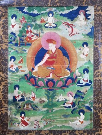 The Lama Rje- Grags Rtod Iha-Pa-Pa- Dbang Graps with Halo and Encircled by Numerous Mahasiddha (Yog
