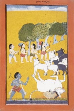 The Young Krishna Kills the Demon Vatsasura
