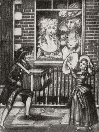 Two Prostitutes Look Out of the Window of an 18th Century English Brothel. from Illustrierte Sitten