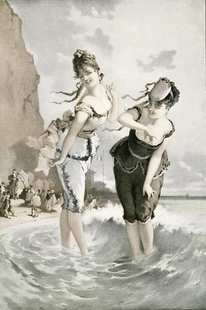 Two Young Ladies Sea Bathing in the 19th Century. from Illustrierte Sittengeschichte Vom Mittelalte