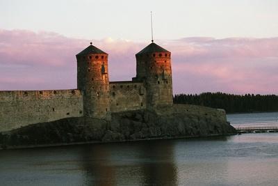 View of Olavinlinna Castle (Olofsborg) at Sunset